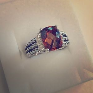 DAVID YURMAN PETITE WHEATON RING W/SMOKEY DIAMONDS